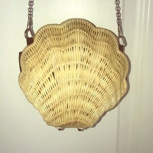 Beach Straw Shell-Shaped bag with detachable Strap